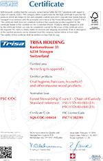 Trisa sertifikat - FSC COC EN