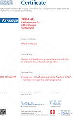 Trisa sertifikat - ISO22716 EN