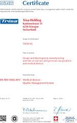 Trisa sertifikat - ISO 13485 EN