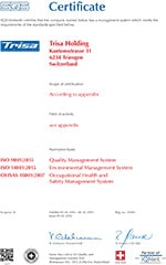 Trisa sertifikat - ISO OHSAS EN